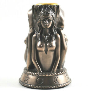 Triple Earth Goddess Witch Maiden Mother Crone Figurine Statue Candle Holder NEW