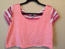 Free People We The Free Crop Top With Crochet Back Coral Cream Size P small
