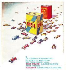 PUBBLICITA'  1933 AERO SHELL DYNAMIN LATTA BENZINA MODELLI AUTO EPOCA  NICOULINE