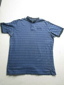 Harbor Bay Mens 3XLT Blue Striped NEXUS Short Sleeve Golf Polo Nice 1/4 Button