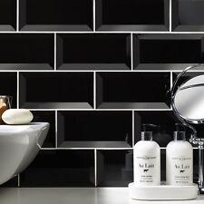 Gloss Black Metro Bevelled Edge Ceramic Wall Tiles 10 X 20cm 1m² - 50 Tiles