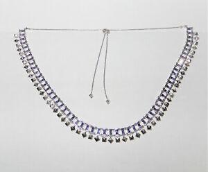 KENDRA SCOTT Oscar Rhodium Plated Lilac Violet Crystal Necklace