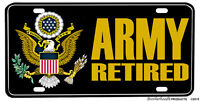 United States Army Retired Full Color Aluminum License Plate
