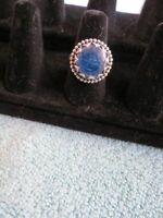 Beautiful SILVER SAGEN Blue Kyanite RING Sterling Silver Signed Lotus Petals 7