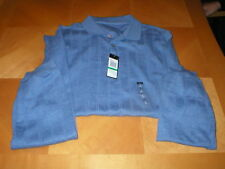 VanHeusen Mens casual shirt polo Windowpan long sleeve slate blue sz L NWT