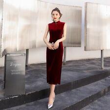 New Elegant Velvet Red Sleeveless Long Dress Cheongsam Chinese Qipao lcdress134
