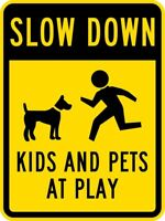 Slow Down-Kids and Pets at Play w/Graphic Aluminum Metal Novelty Sign 8x12