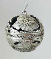 Vintage Unique W.T. Wilson Pewter Port Reticulated Christmas ornament ball Bells