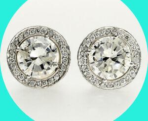 3.60CT diamond platinum martini hidden halo stud earrings 14K screw back studs