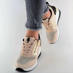 Damen Schuhe Sneaker Gold Beige Weiß Schwarz Glitzer Sport Freizeit Keilabsatz