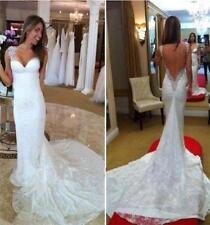 Weiß Long Spitze Mermaid Brautkleider rückenfrei  Hochzeitskleider 32 34 36 38++