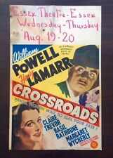 1942 CROSSROADS 22x14 Window Card William Powell Hedy Lamar & Basil Rathbone