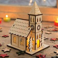 Kirche mit LED Beleuchtung Lichthaus Weihnachtshaus Holz Deko für Weihnachten