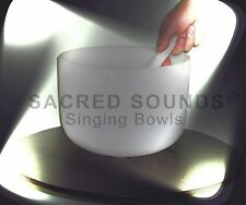 CRYSTAL SINGING BOWL 11 INCH ROOT CHAKRA NOTE 'C' TOPFUND FROSTED QUARTZ BOWLS