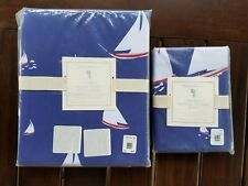 Pottery Barn Kids Nautical Sailboat Duvet Cover Full Queen w/ Standard Sham #818