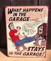 WHAT HAPPENS GARAGE Funny Sayings Sign Tin Vintage Garage Bar Decor Old Rustic