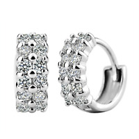 925 Sterling Silver Huggie Hoop Clip Double Row Earrings Womens Jewellery Gift