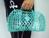 Bolso cesta zapatillas plástico verde jelly retro vintage de compras en montar