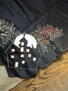 Halloween Tablecloth Topper Black Eerie House  Wimpole Street Creations  Unused