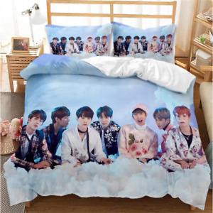 3D BTS Bangtan Boys Duvet Quilt Cover Pillowcase Bedding Twin/Full/Queen/King