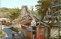 1966 Mt Arlington NJ Bertrand Island Amusement Park Roller Coaster Postcard FI