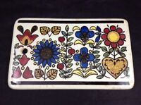 """Vintage Limburg Ceramic Tray 8"""" x 5"""" Floral Pattern Serving Tray Made in Germany"""