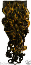 """Black Color Golden Highlighted Curly on off fake Hair Extension 26"""" Clip Wig Pin"""