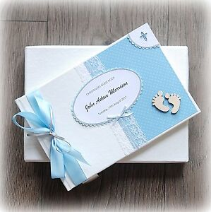 PERSONALISED BABY BOY CHRISTENING/ BAPTISM GUEST BOOK Handmade boxed