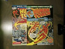 HUMAN TORCH MARVEL COMICS GROUP 2 BOOK LOT #1,2 VF-FN+ 1975 BRONZE AGE