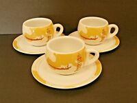 Levtov China Coffee Cups & Saucers Italian Scenes Pisa Coliseum Gondola--3 Sets!