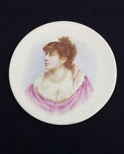 Antique French porcelain portrait Cabinet plate Attr. to Limoges France