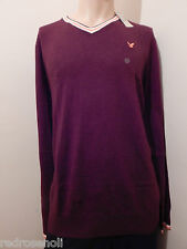 American Eagle Mens V-Neck Sweater Solid Burgundy Red  AE Top XL-TALL NEW Nwt