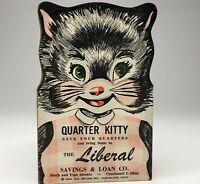 Vintage Cat Ephemera 1954 QUARTER KITTY Savings Card The Liberal, Cincinnati OH