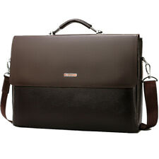 Leather Briefcase Laptop Handbag Messenger Business Bags For Men Crossbody Bag