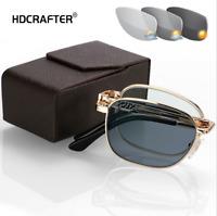 Portable Foldable Men Metal Photochromic Reading Glasses Outdoor Sunglasses New