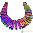 Natural Hematite Gemstone Graduated 41Pcs Stick Beads Pendant Set Multi-Colored