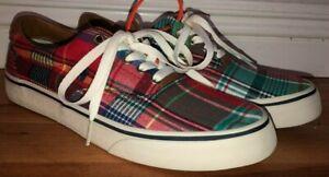 Mens Polo Ralph Lauren Thorton III Plaid Sneakers Multicolor Sz 7 New