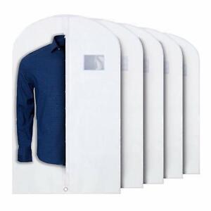 5x White PLX Hanging Garment Bags Storage Travel Suit Bag Dress Shirt 40 Inch
