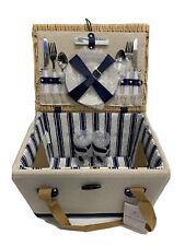 "New ListingBoardwalk Picnic Basket with Service for Two New 16""x12""x11"" Wicker Dishware inc"