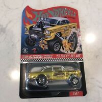 55 Chevy Bel Air Gasser Hot Wheels RLC Dirty Blonde IN STOCK with protecter pack