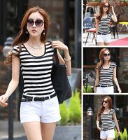 Women Round Neck Cotton Top Short Sleeve Shirt Casual Tee Striped Blouse T-Shirt