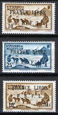 St Pierre & Miquelon 1941-42, 3v France Libre overprints MNH