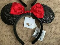 Disney Parks Minnie Mouse Ears Hat Headband Black Red Sequin Bow