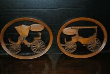 Set of 2 Burwood Products Horse Drawn Phaeton Carriages Carved Wood Wall Plaques