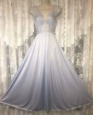 VTG Rare Bridal Blue OLGA M L BODYSILK Inset Lace Nightgown Negligee Gown 9293