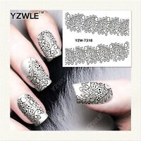 Nail Art Water Decals Stickers Transfers Stamping Black Lace Flowers Floral 7318
