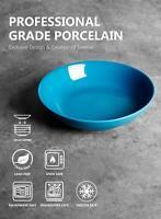 Porcelain Large Salad Pasta Bowls - 45 Ounce 1.3 Quart - Set of 4, Steel Blue