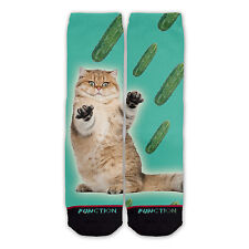 Function - Cat Cucumber Fashion Socks cat funny viral scared meme odd sox stance