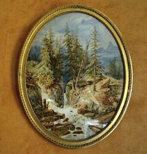 Grande aquarelle Paysage de montagne - Dessin original ancien