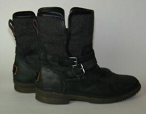 Women's UGG Simmens Black Waterproof Wool Blend/Leather Zip Side Boots Size 10